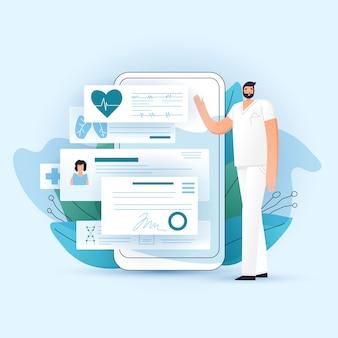 Online rx medyczna recepta i student medycyny sprawdzamy up na smartphone, ilustracja. lekarz pokazuje aplikację na telefon z receptami, badaniami lekarskimi i diagnozą dla pacjenta. koncepcja medycyny online