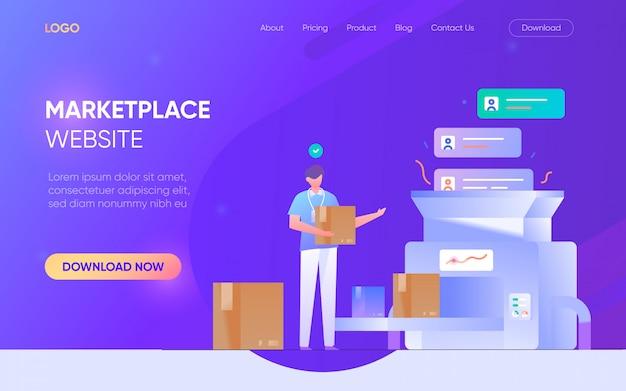 Online shopping marketplace ludzie mężczyzna kobieta postać strona docelowa strona internetowa