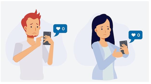 Online social addict concept.mężczyzna i kobieta trzyma smartphone i smuci się, ponieważ nikt nie daje jak ich obraz. płaskie wektor 2d ilustracja kreskówka postać.
