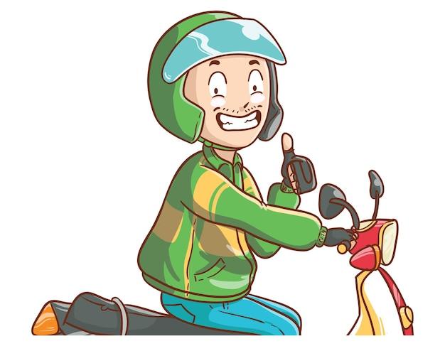Online taksówkarz rowerowy kciuki do góry ilustracja ręcznie rysowane kreskówka kolorowanie stylu