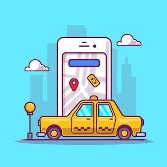 Online taxi transport cartoon