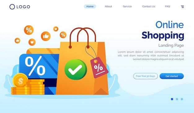 Online zakupy strony docelowej strony internetowej ilustracyjny płaski wektorowy szablon