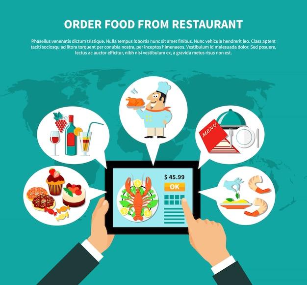 Online zamawianie jedzenia koncepcji