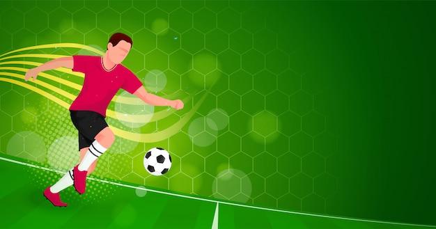 Ootball gracza zielone tło