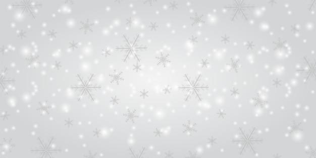 Opad śniegu na białym tle. zimowe płatki śniegu modny tło wektor. świeci śnieg z bożym narodzeniem