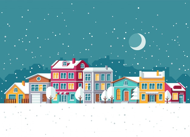 Opad śniegu w zimy miasteczku z małych domów kreskówki wektoru ilustracją. boże narodzenie wakacje koncepcja
