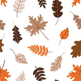 Opadłych liści wzór. jesień wzór z opadłych liści drzew na białym tle. ilustracja wektorowa i