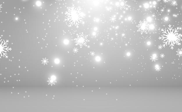Opady śniegu Dużo śniegu Na Przezroczystym Tle Boże Narodzenie Zimowe Tło Płatki śniegu Premium Wektorów