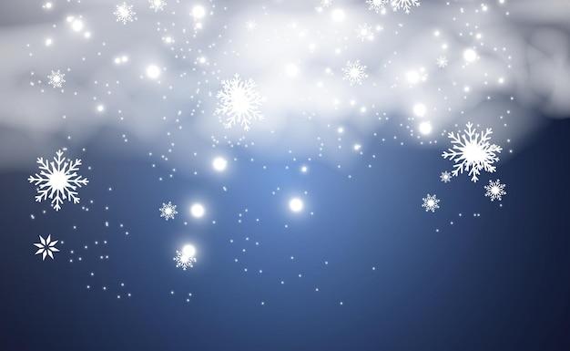 Opady śniegu dużo śniegu na przezroczystym tle boże narodzenie zimowe tło płatki śniegu