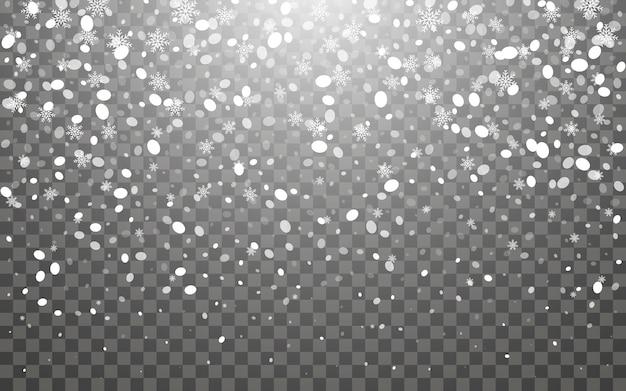 Opady śniegu i spadające płatki śniegu na ciemnym przezroczystym tle. białe płatki śniegu i świąteczny śnieg. ilustracja wektorowa