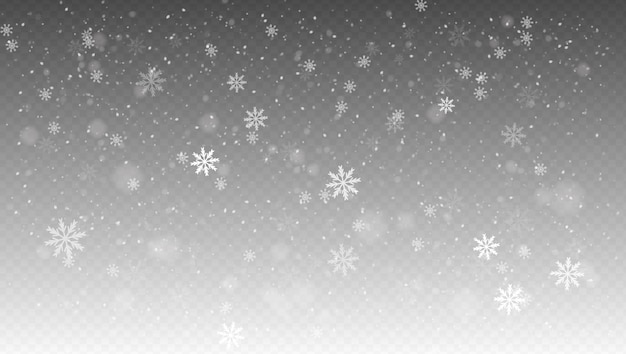 Opady śniegu, realistyczny padający śnieg, płatki śniegu w różnych kształtach i formach.