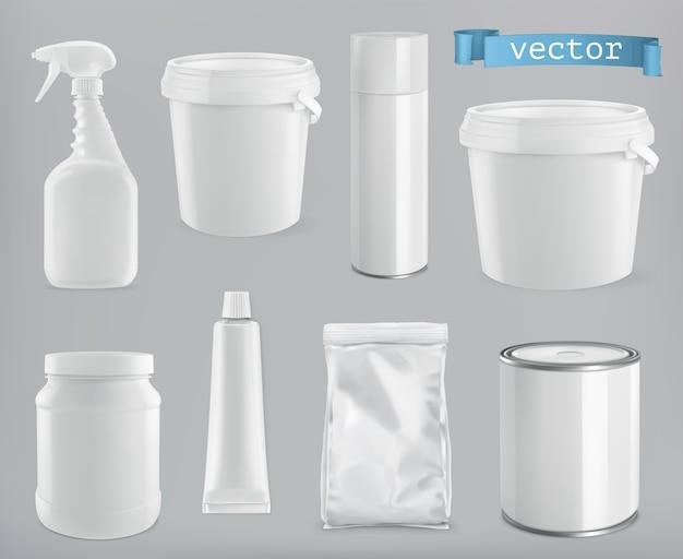 Opakowania budowlane i sanitarne. białe opakowanie z tworzywa sztucznego, metalu i papieru, wektor