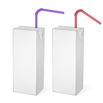 Opakowania kartonowe mleka lub soku na białym tle na jasnym tle. opakowania kartonowe, białe opakowanie, realistyczny szablon, ilustracja