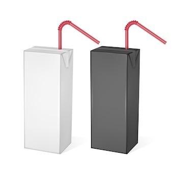 Opakowania kartonowe mleka lub soku na białym tle na jasnym tle. opakowania kartonowe, czarno-białe opakowanie, ilustracja realistycznego szablonu