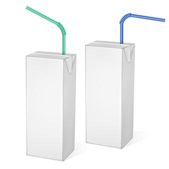 Opakowania kartonowe mleka lub soku na białym tle na jasnym tle. opakowania kartonowe, ilustracja biała paczka