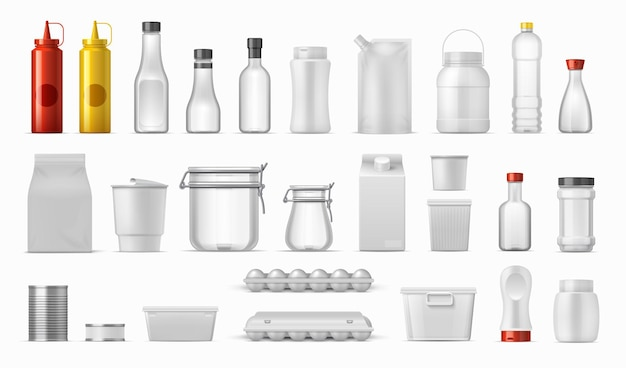 Opakowania na żywność. butelki na sos i pojemniki na płatki zbożowe, realistyczne pudełka kuchenne, plastikowe i metalowe opakowania kartonowe