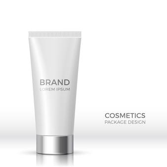 Opakowania produktów kosmetycznych. biała realistyczna tuba. ilustracja.