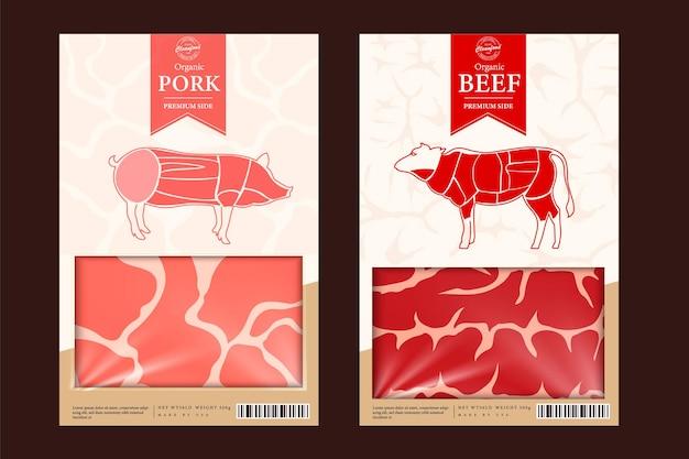 Opakowania wołowe i wieprzowe lub etykiety elementów projektu sklepu z mięsem krowim i wieprzowym