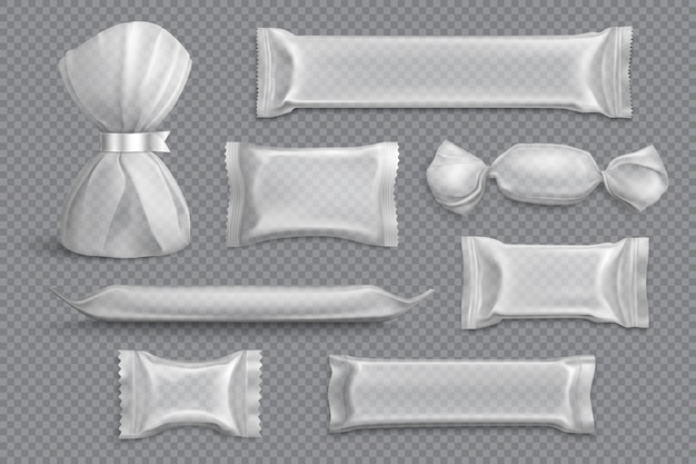 Opakowania z cukierkami dostarczają produkty puste próbki makiety na przezroczystym opakowaniu z realistycznymi opakowaniami foliowymi