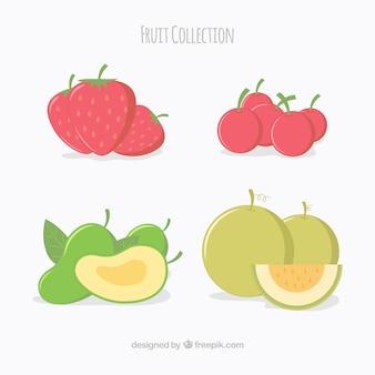 Opakowanie czterech owoców w płaskim deseniu