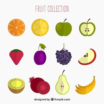 Opakowanie kolorowych owoców w płaskim deseniu