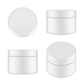 Opakowanie kosmetyczne. zaokrąglonego cleaning tubki pudełka zbiornika kremowy plastikowy wierzchołek i bocznego widoku wektor