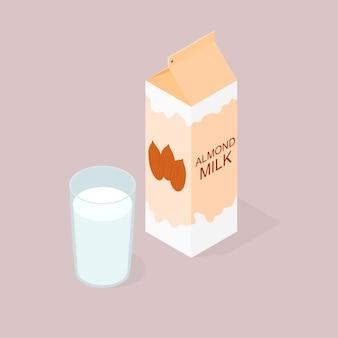 Opakowanie mleka migdałowego. izometria. szklanka mleka. jedzenie wegańskie i wegetariańskie. naturalny produkt. korzyści z orzechów. koktajl mleczny w szklance. ilustracja wektorowa.