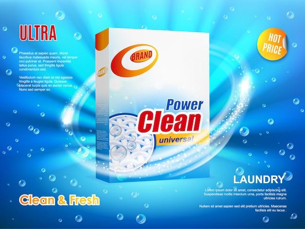 Opakowanie proszku do prania, projekt plakatu wektorowego, realistyczne pudełko z detergentem do prania ultra czyszczenia na niebieskim tle z kroplami wody i iskrzeniem. promocja gorącej oferty cenowej, promocja produktu