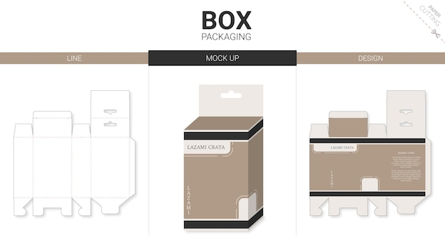 Opakowanie pudełkowe i makieta wycinany szablon