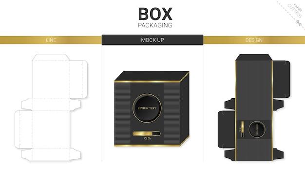 Opakowanie pudełkowe i szablon wykrojnika makiety ładują czerń i złoto