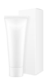 Opakowanie pudełkowe i tubka pustego szablonu pasty do zębów