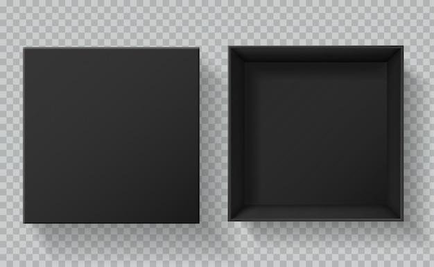 Opakowanie z czarną skrzynką. widok z góry otwarte i zamknięte pudełka do prezentacji prezentów. makieta 3d pusty karton czarny pakiet