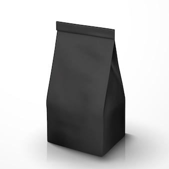 Opakowanie ziaren kawy, czarne opakowanie foliowe na ilustracji do zastosowań