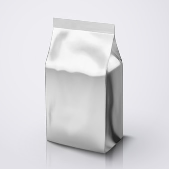 Opakowanie ziaren kawy, opakowanie ze srebrnej folii na ilustracji do zastosowań
