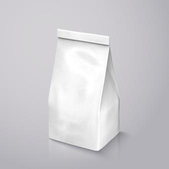 Opakowanie ziaren kawy, perłowa biała folia na ilustracji do zastosowań