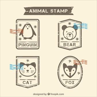 Opakowanie znaczków pocztowych ze zwierzętami dekoracyjnymi w stylu retro