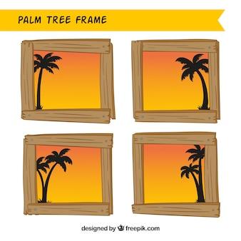 Opakuj drewniane ramy z sylwetkami palmy