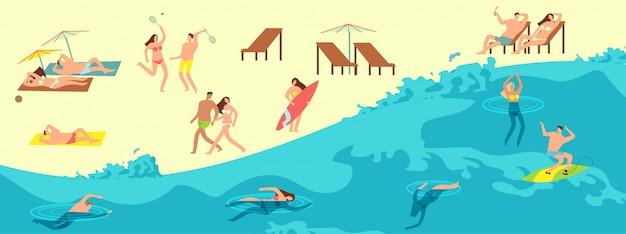 Opalanie, zabawa i pływanie ludzi w letniej plaży. ilustracja czasu letniego