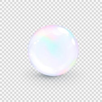 Opalizująca bańka perłowa na białym tle