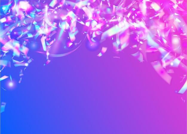 Opalizujące konfetti. kryształowa tekstura. brokat kalejdoskopu. sztuka jednorożca. laserowe świętowanie gradientu. folia fantasy. niebieski dyskoteka błyszczy. ulotka metalowa. fioletowe opalizujące konfetti