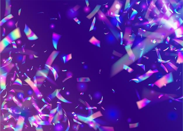 Opalizujący blask. efekt tęczy. element laserowy. konfetti z hologramem. jasna folia. różowe rozmycie błyszczy. sztuka świąteczna. błyszczące wielokolorowe tło. fioletowy opalizujący blask