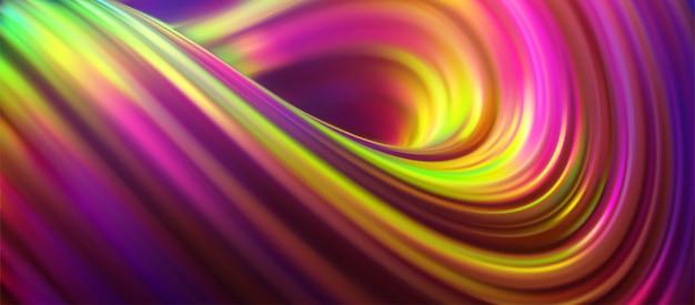 Opalizujący, kręcony strumień. płynny kształt w paski. ilustracja 3d. kolorowe tło. wibrująca fala gradientu.