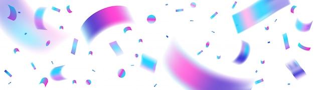 Opalizujący neon konfetti tło, szablon uroczysty baner dla sieci społecznościowych lub nagłówek strony. konfetti z holograficzną folią na przezroczystym ciemnym tle.