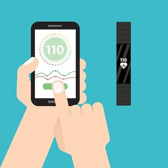 Opaska fitness do biegania łączy się ze smartfonem. bransoletka sportowa lub opaska na rękę.