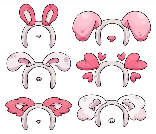 Opaski z różowym sercem, zwierzętami i króliczkami