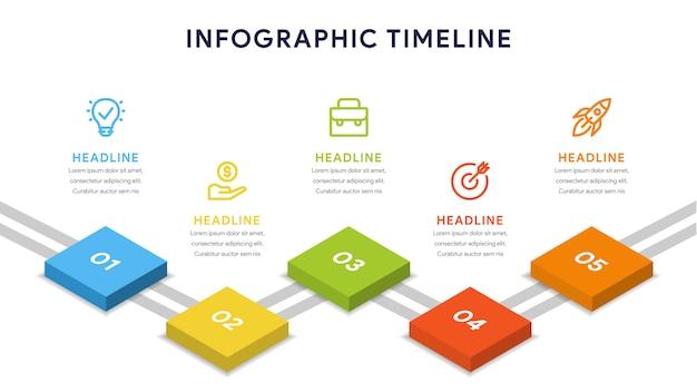 Opcje five infografika kroków, osi czasu, przepływu pracy