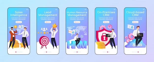 Opcje i typy crm dołączania płaski szablon ekranu aplikacji mobilnej. wywiad sprzedaży. przewodnik po witrynie z postaciami. interfejs rysunkowy smartfona ux, ui, gui, zestaw wydruków skrzynek