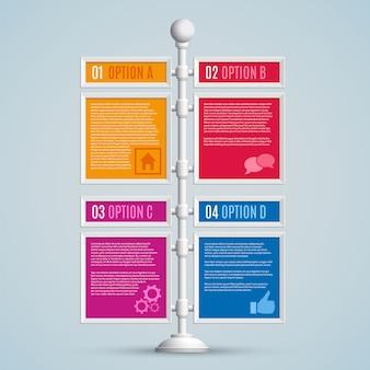 Opcje infografiki na drogowskaz
