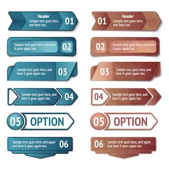 Opcje infografiki retro kartonowe