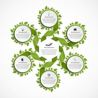 Opcje infografiki szablon. wstążki z zielonymi liśćmi.